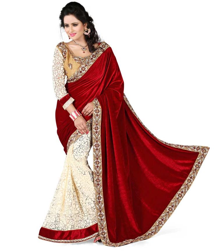 Kuvarba Fashion Maroon Velvet Saree - http://weddingcollections.co.in/product/kuvarba-fashion-maroon-velvet-saree/