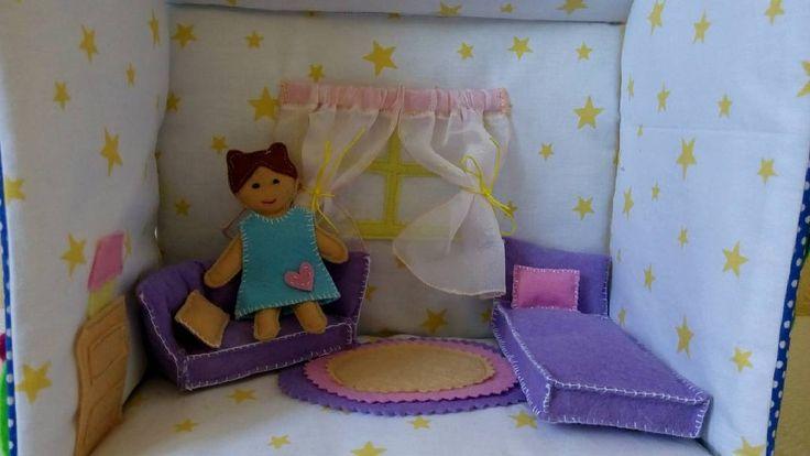 Doll house fabric. Montessori activities. Portable dollhouse.