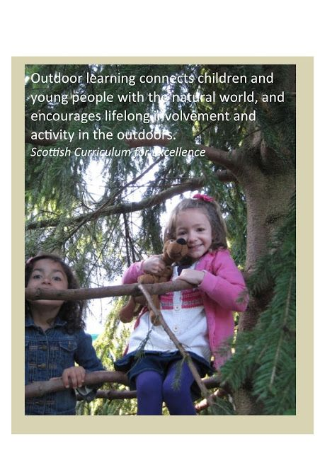 Outdoor learning connects children and young people with the natural world, and encourages lifelong involvement and activity in the outdoors. - Scottish Curriculum for Excellence Early Learning at ISZL: Posters to promote outdoor learning ≈≈