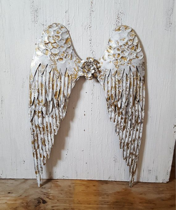 Metal Angel Wings Wall Decor Metal Cross Rustic by JKDezignss