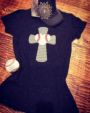 Shop now....Cute new baseball tee features screen printed chevron baseball cross accented with glitter baseball (softball heart available too) Tees are ladies sized that run true, please contact us if you need help with sizing. We do offer size exchanges as long as tee is not personalized.  Free shipping.