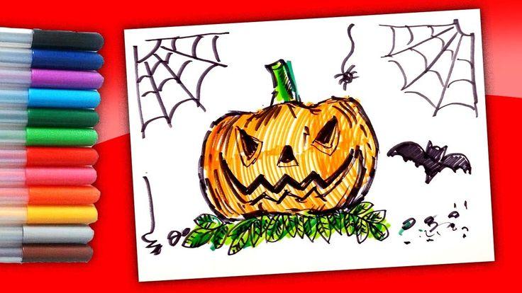 Как нарисовать Страшную Тыкву фломастерами / Рисунки на Хэллоуин