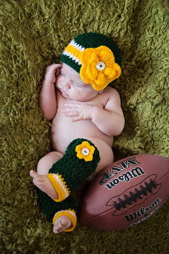 Baby Set  Green Bay Packers Beanie Hat  and by TwirlyGurlz on Etsy