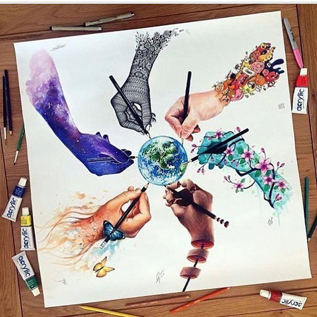 """World of Artists"" ✨ by @dinotomic x @scandy_girl x @jojoesart x @vexx_art x @elia_pelle x @pavneetsembhi"