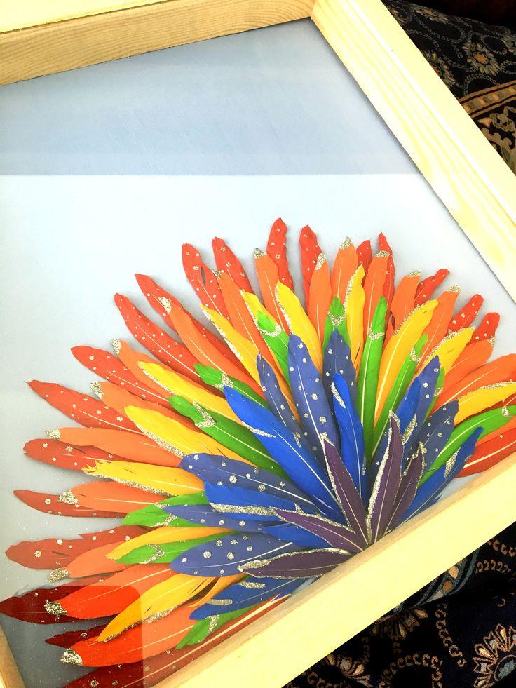 Excited to share the latest addition to my #etsy shop: Painted feather rainbow - Framed painted feathers - Boho rainbow decor - Rainbow baby nursery - Boho decor - Unique wall art - Colourful art http://etsy.me/2iX1pec #housewares #homedecor #rainbow #birthday #christmas #bl