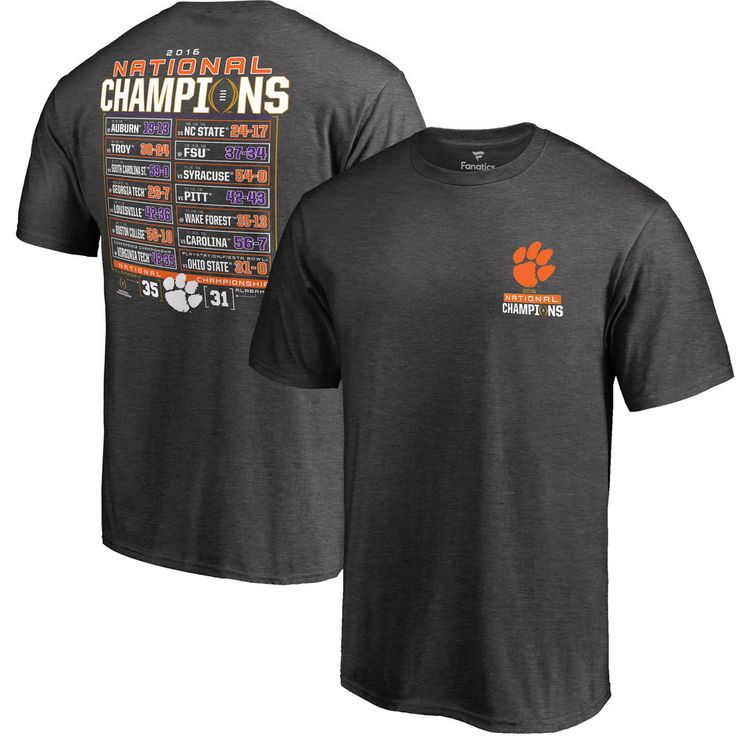 Men's Fanatics Branded Charcoal Clemson Tigers College Football Playoff 2016 National Champions Schedule T-Shirt