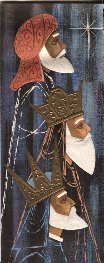 Vintage Christmas Card:  Mid-Century Modern Three Wisemen