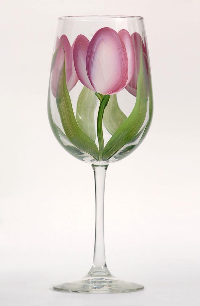 Pink u0026 Cream Tulips Tulip Wine GlassesPainted