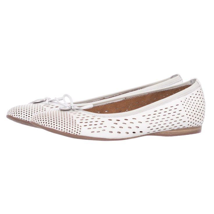 22107 White Leather Tamaris Γυναικείες Μπαλαρίνες | Mortoglou.gr | e-Shop