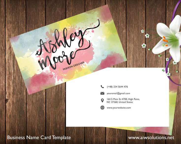 This business card template is just perfect for color style lovers. It's simple and elegant, great for model, designer, photographer, fashion shop owner, ….  customise business template, model name card, Name Card Template, Photography name card, Premade Business Card Template, water color name card #namecard #businesscard #template #graphictempale #caliingcard #diy