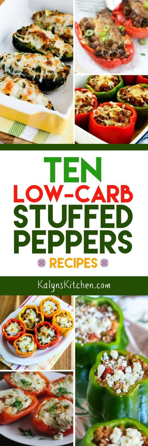 Stuffed Peppers are such a good idea for a low-carb or Keto meal, and here are Ten Low-Carb Stuffed Peppers Recipes. And of course these low-carb stuffed peppers are also gluten-free; enjoy! [found on KalynsKitchen.com]
