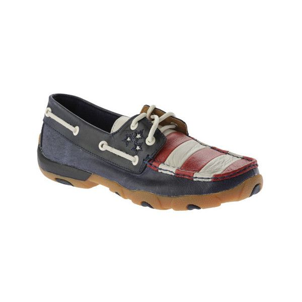 Women's Twisted X Boots WDM0016 Driving Moc ($79) ❤ liked on Polyvore featuring shoes, loafers, casual, casual shoes, red slip on shoes, horse shoes, slip-on shoes, red loafers and blue and white shoes