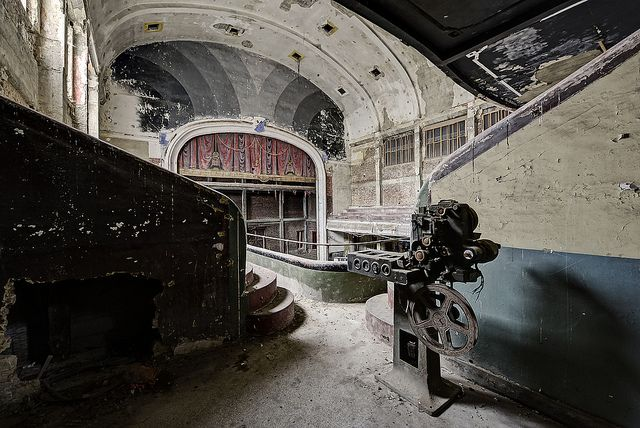 Old projector in abandoned theatre Belgium by odin's_raven, via Flickr