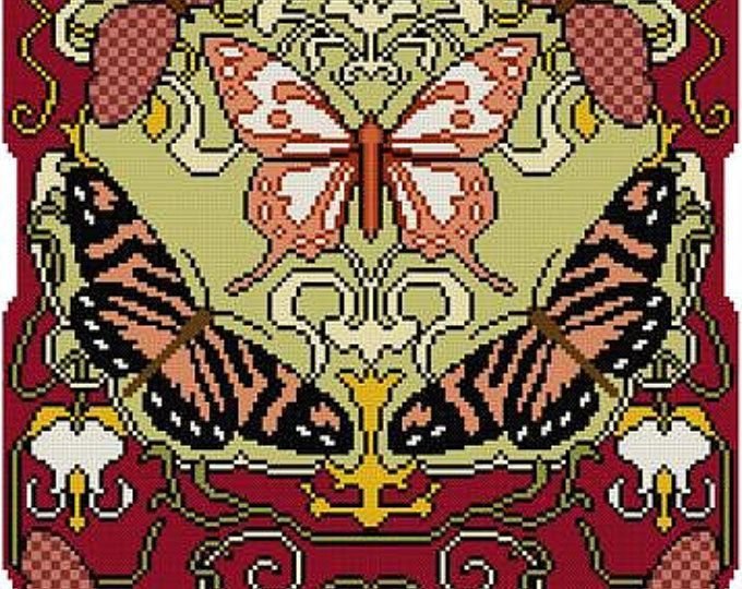 Natuur Panel No. 3 Swallowtail en libellen Cross stitch patroon PDF Art Nouveau