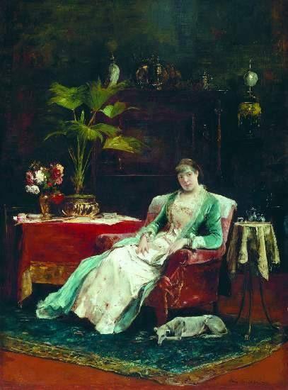 Munkácsy Mihály (1844-1900) - Merengő nő kutyával