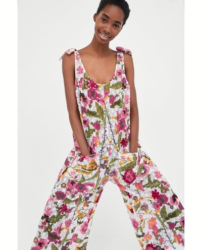 Image 2 of PRINTED JUMPSUIT WITH A TEXTURED WEAVE from Zara