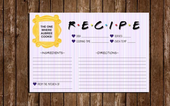 Printable Friends Recipe Cards Bridal Shower 6 X4 Index Cards In 2021 Friends Bridal Shower Friends Bridal Shower Theme Friends Bridal