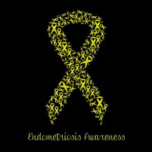 Illustration of yellow ribbon for Endometriosis