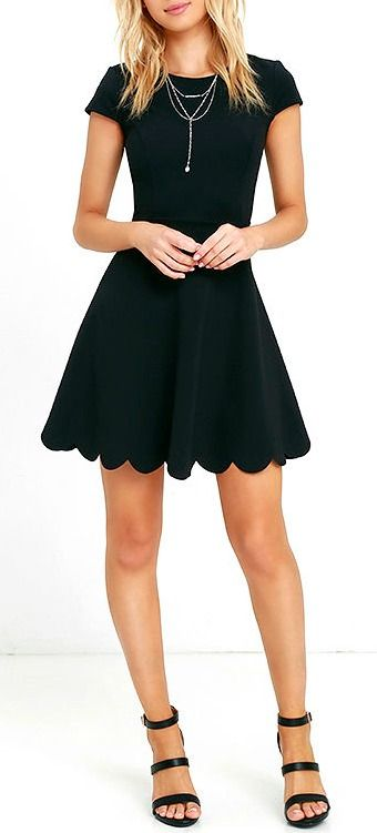 Lulus Exclusive! You won't need a picture to prove how cute you look in the Proof of Perfection Black Skater Dress, but you'll want one anyways! Medium-weight, stretch knit shapes a rounded neckline, and princess-seamed bodice, framed by cute cap sleeves. A twirl-worthy skirt ends in a scalloped hem. #lovelulus