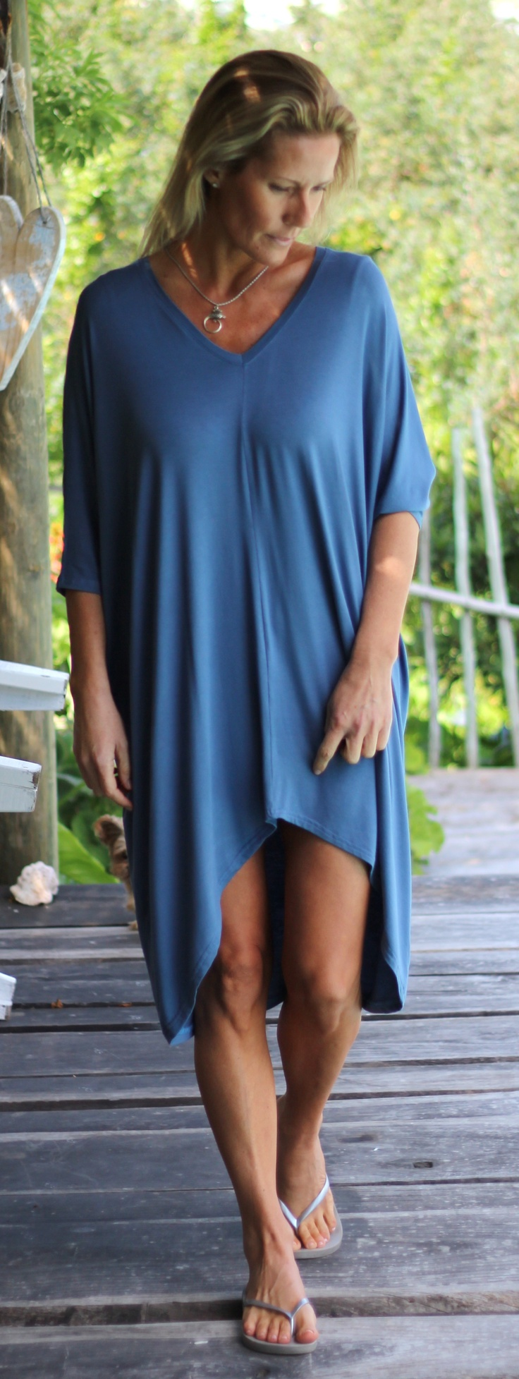 another kick back and relax dress ... the 'v-long', it's the kaftan mood but not quite a kaftan. It's the laid backslip on and is lovely over a pair of capri's or just as is ... it's loose, comfy, breezy and feels as light as a feather ... x x x