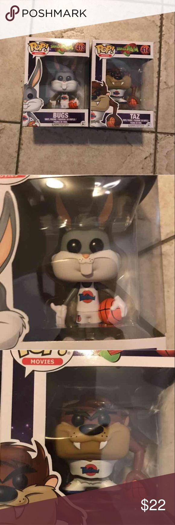 Space Jam BUGS & TAZ Funko Pops BRAND NEW IN BOX*NO TRADES *PRICE IS FIRM #Pop Movies  #Warner Brothers #Looney Tunes Accessories