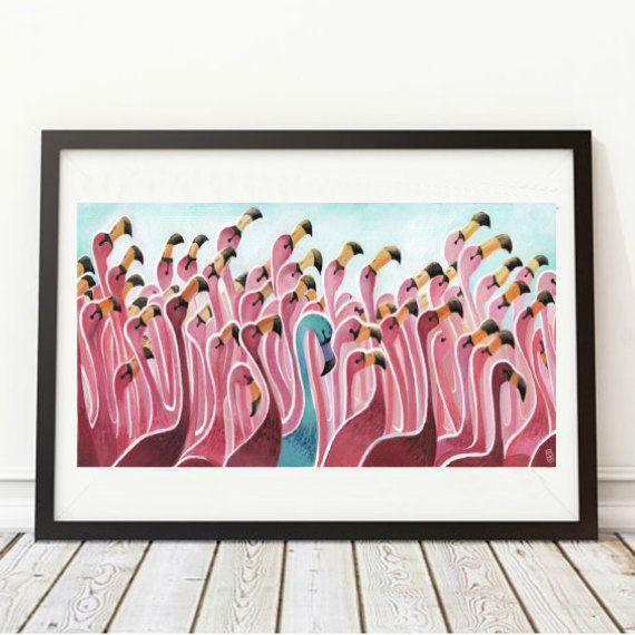 Print | The blue Flamingo