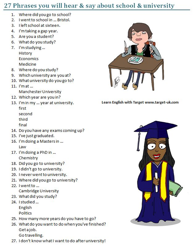 27 Phrases you will hear & say about school & university