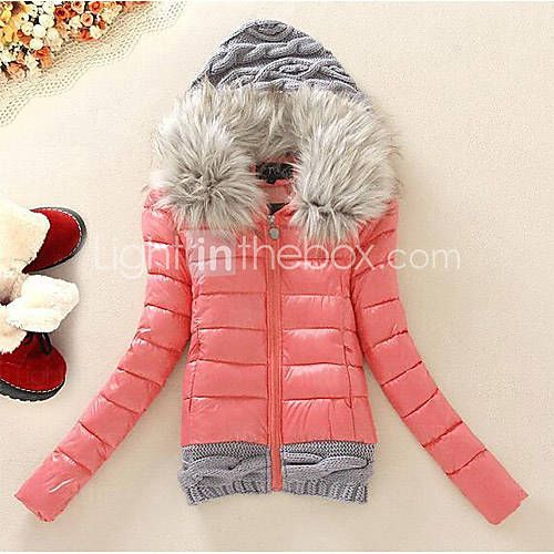 [USD $ 50.99] Women's Fur Hooded Short Design Down Jacket Padded Large Fur Collar Plus Size Winter Coat Fashion Outerwear