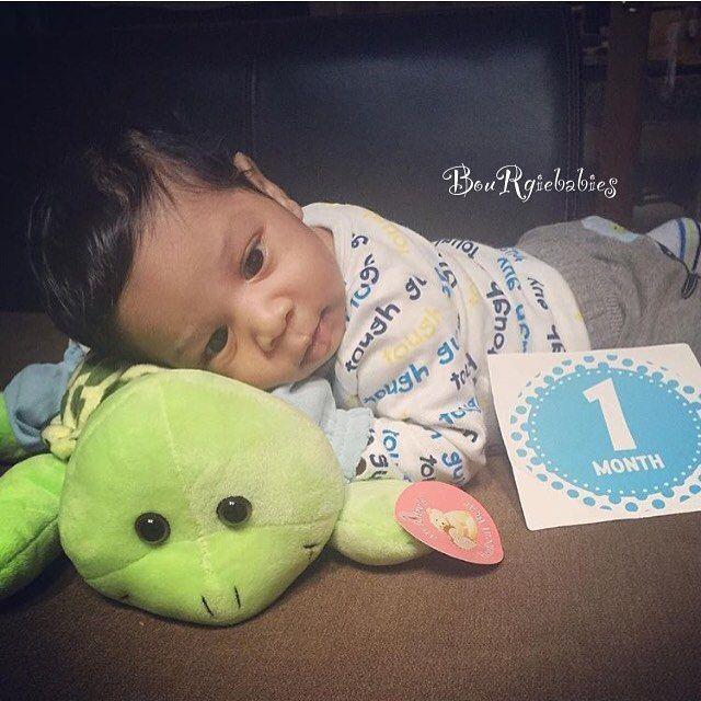 Aw happy 1 month baby Jaxon #babies #babyboy #bourgiebabies #adorable…