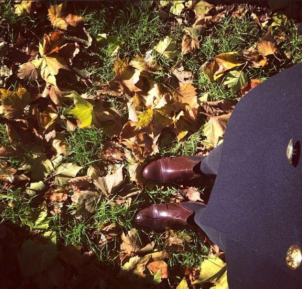 Morning fall shoe shot in Hackney