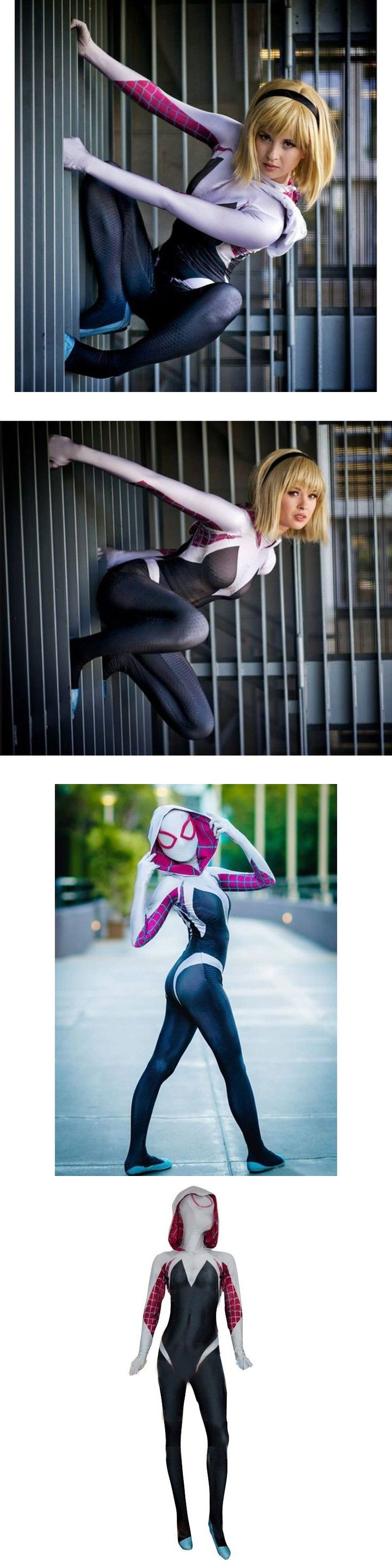 Halloween Costumes: Womens Spider Gwen Cosplay Halloween Costume High Quality Spandex 3D Printing -> BUY IT NOW ONLY: $99 on eBay!