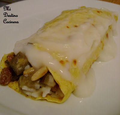 Simplemente Cocinera: 100% Vegetal Crepes de Harina de Garbanzos Rellenos de Basmati, Berenjenas, Pasas y Piñones con Baño de Salsa Blanca al Jengibre