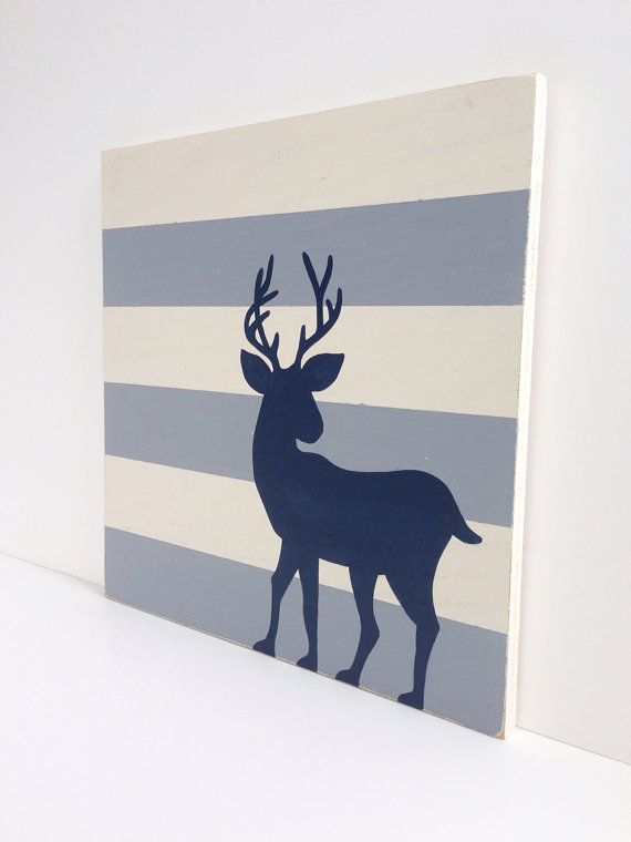 Hand Painted Gray and White Stripes Navy Blue Deer Silhouette Painting on Wood, Woodland Nursery, Rustic Deer, Nursery Art, Rustic Nursery