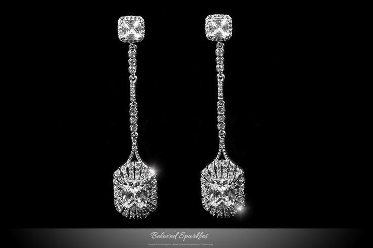 Marlana Radiant Cut Drop Long Dangle Earrings | 6 Carat | Cubic Zirconia