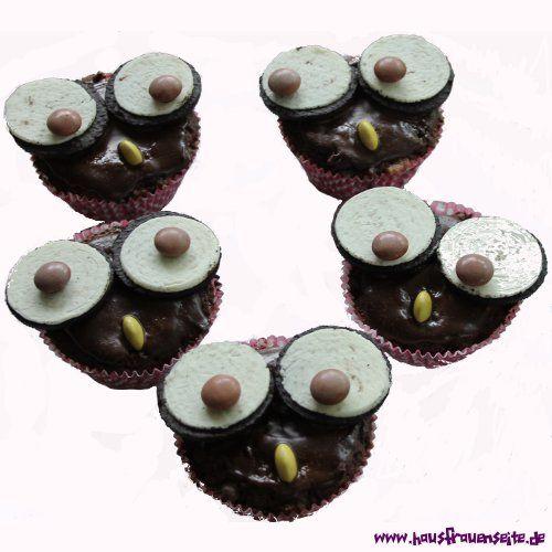 Eulen-Muffins mit Oreo Keksen