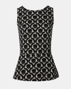 Peplum top with contrasting velvet motif | Shop Online at Smart Set - 35