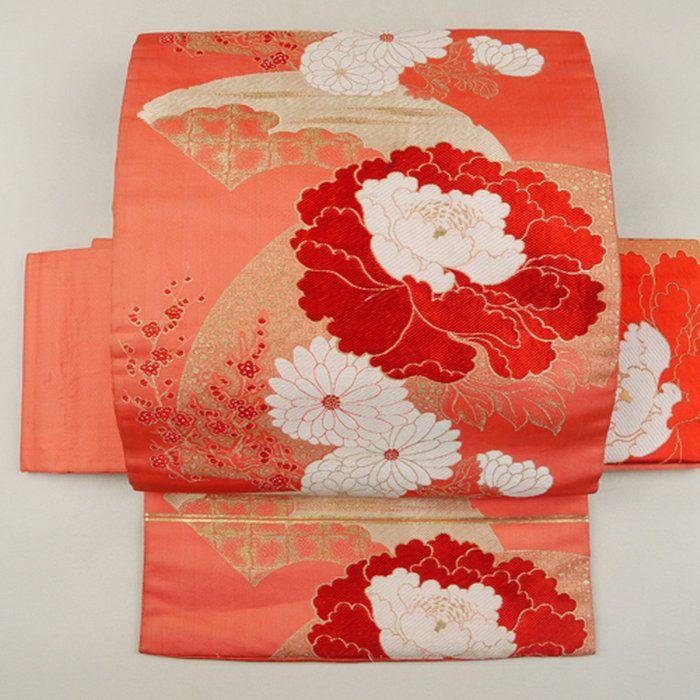 【名古屋帯】赤色スカーレット色地扇面花柄六通
