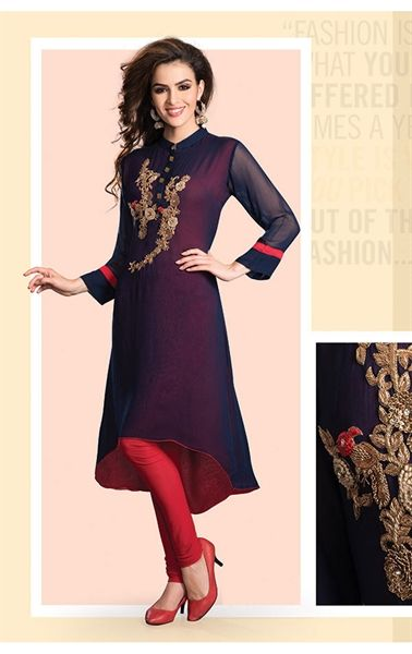 Picture of Sparkling Navy Blue Ready Made Kurti