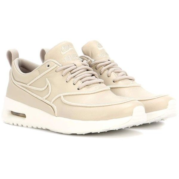 air max thea leather sneakers beige