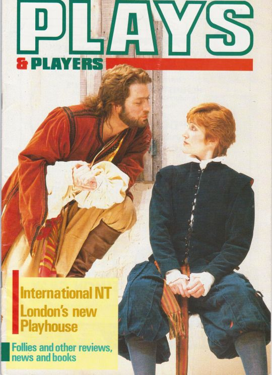 1987 - Roger Allam and Harriet Walter on the cover of Plays and Players magazine, in a scene from an RSC production of 'Twelfth Night'