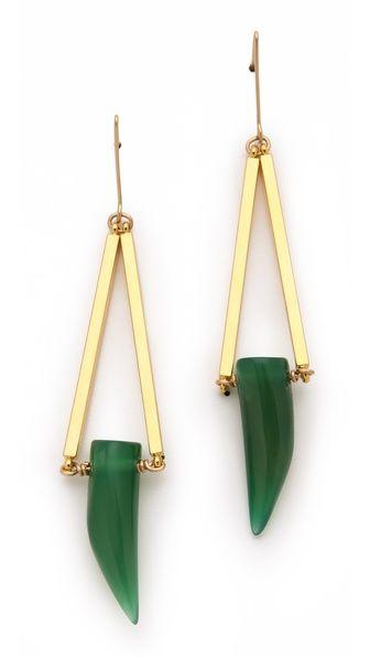 Gemma Redux Green Agate Horn Earrings