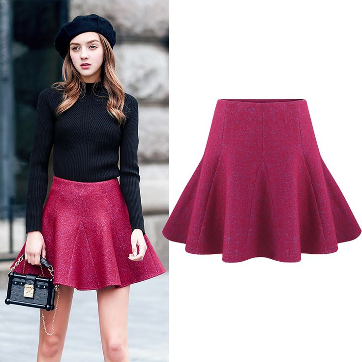 紫色半身裙+黑色高领毛衣=街拍欧美风
