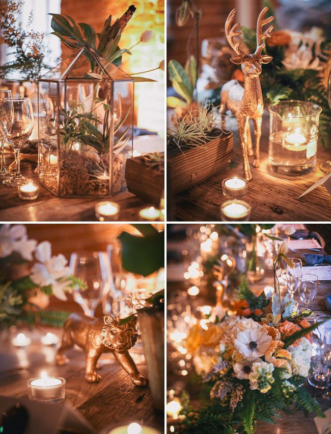 gold painted animals-love love this wedding concept