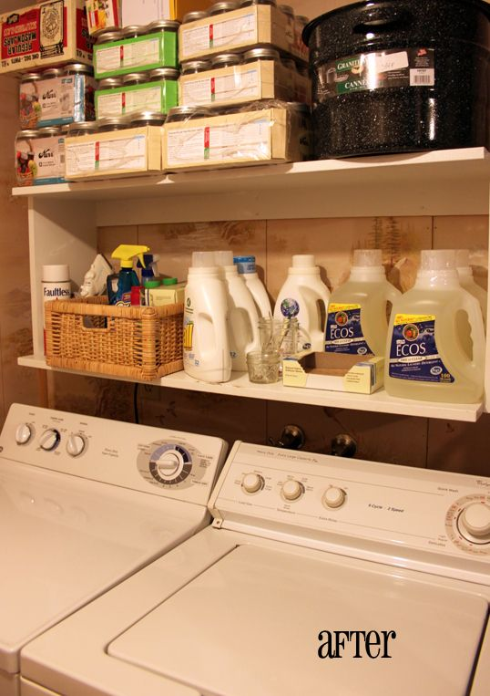 Laundry room shelf, attached to wall over washer and dryer. Store small laundry supplies in a basket.