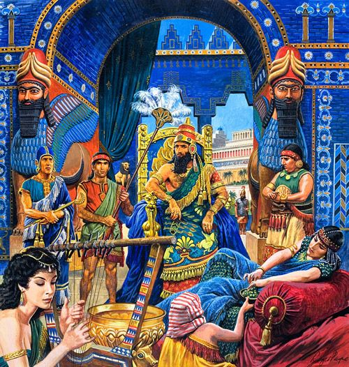 Neo-Babylonian Empire | The Court of Nebuchadnezzar II (Original) (Signed) art by Roger Payne ...