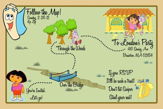 Map invitation dora the explorer and maps on pinterest for Dora the explorer map template
