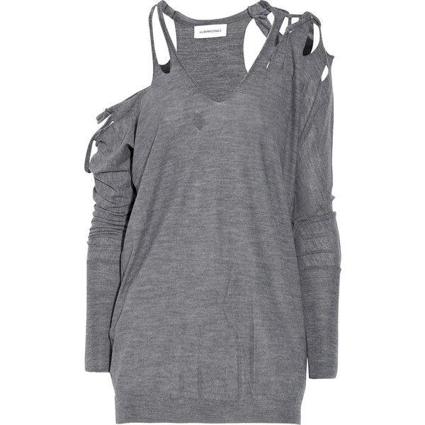 Julien Macdonald Slashed merino-wool sweater ($1,020) ❤ liked on Polyvore featuring tops, sweaters, shirts, dresses, women, gray shirt, v-neck shirts, long sleeve shirts, v neck sweater and gray sweater