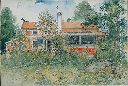 Carl Larsson's Sundborn, Sweden - several paintings of outside and interior