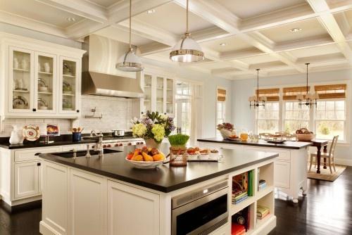 leathered black granite: Kitchens Design, Dreams Kitchens, Idea, Traditional Kitchens, Interiors Design, Kitchens Islands, White Cabinets, Kitchens Photos, White Kitchens