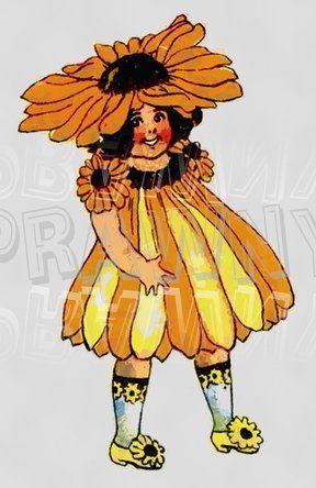 Black Eyed Susan Clip Art | Black Eyed Susan Pretty Flower Children Prawny Vintage Clip Art